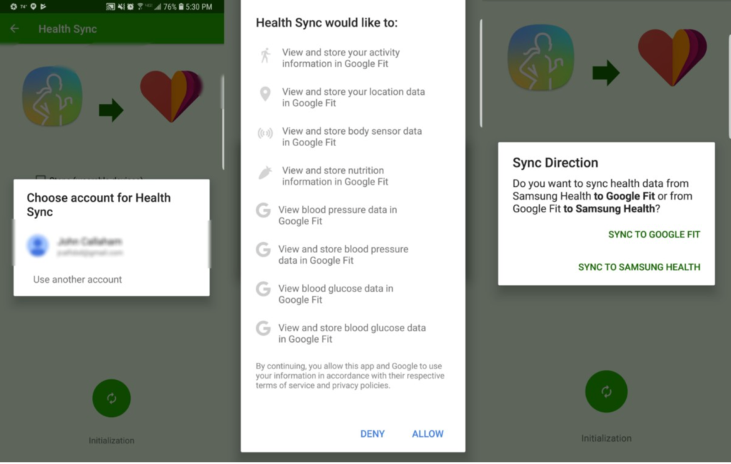 image showing how to connect samsung health to Google Fit
