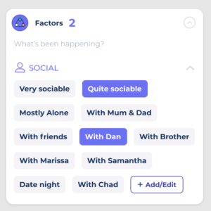 image showing how to track different people as factors on the Bearable homepage
